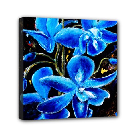 Bright Blue Abstract Flowers Mini Canvas 6  X 6  by timelessartoncanvas
