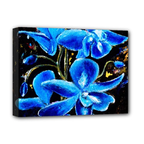 Bright Blue Abstract Flowers Deluxe Canvas 16  X 12   by timelessartoncanvas