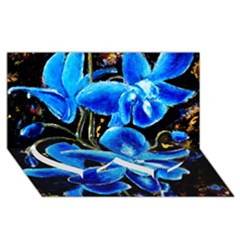 Bright Blue Abstract Flowers Twin Heart Bottom 3d Greeting Card (8x4)  by timelessartoncanvas