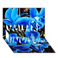 Bright Blue Abstract Flowers You Are Invited 3d Greeting Card (7x5)  by timelessartoncanvas