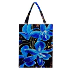 Bright Blue Abstract Flowers Classic Tote Bags