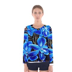 Bright Blue Abstract Flowers Women s Long Sleeve T Shirts