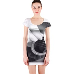 Guitar Player Short Sleeve Bodycon Dresses by timelessartoncanvas