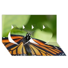 Butterfly 3 Twin Hearts 3d Greeting Card (8x4)  by timelessartoncanvas