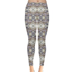 Oriental Geometric Floral Winter Leggings by dflcprintsclothing