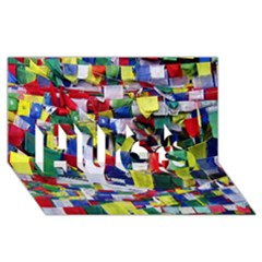 Tibetan Buddhist Prayer Flags Hugs 3d Greeting Card (8x4)  by CrypticFragmentsColors