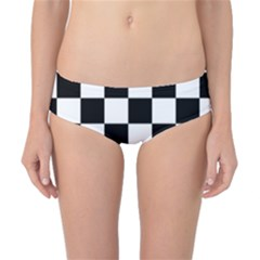 Checkered Flag Race Winner Mosaic Tile Pattern Classic Bikini Bottoms by CrypticFragmentsColors