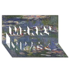 Claude Monet   Water Lilies Merry Xmas 3d Greeting Card (8x4)  by ArtMuseum