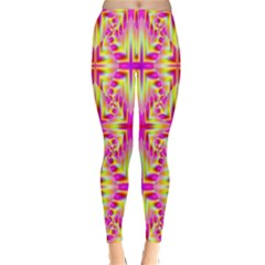 Pink And Yellow Rave Pattern Winter Leggings by KirstenStar