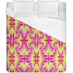 Pink And Yellow Rave Pattern Duvet Cover Single Side (double Size) by KirstenStar