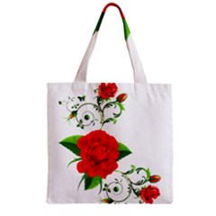 Red Roses Decor Clipart Zipper Grocery Tote Bags by AlteredStates