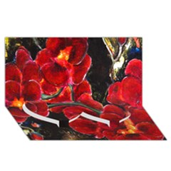 Red Orchids Twin Heart Bottom 3d Greeting Card (8x4)  by timelessartoncanvas