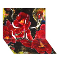Red Orchids Clover 3d Greeting Card (7x5)  by timelessartoncanvas