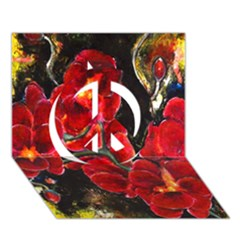 Red Orchids Peace Sign 3d Greeting Card (7x5)  by timelessartoncanvas