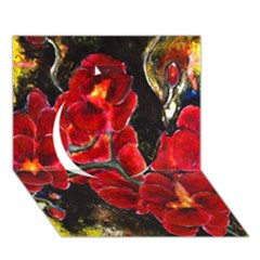 Red Orchids Circle 3d Greeting Card (7x5)  by timelessartoncanvas