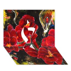 Red Orchids Ribbon 3d Greeting Card (7x5)  by timelessartoncanvas