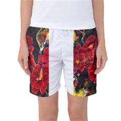 Red Orchids Women s Basketball Shorts by timelessartoncanvas