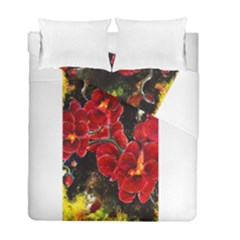 Red Orchids Duvet Cover (twin Size) by timelessartoncanvas