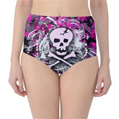 Pink Skull Splatter High Waist Bikini Bottoms by ArtistRoseanneJones