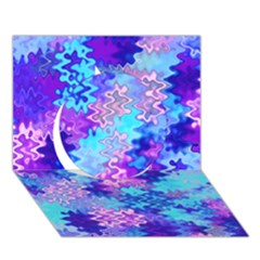 Blue And Purple Marble Waves Circle 3d Greeting Card (7x5)