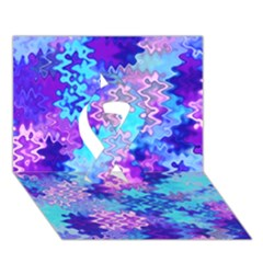 Blue And Purple Marble Waves Ribbon 3d Greeting Card (7x5)  by KirstenStar