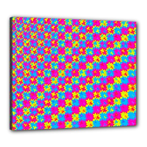 Crazy Yellow And Pink Pattern Canvas 24  X 20  by KirstenStar