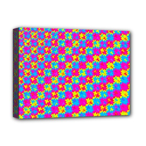 Crazy Yellow And Pink Pattern Deluxe Canvas 16  X 12   by KirstenStar