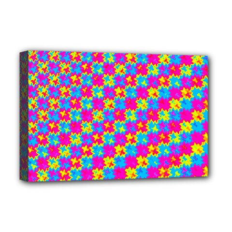 Crazy Yellow And Pink Pattern Deluxe Canvas 18  X 12   by KirstenStar