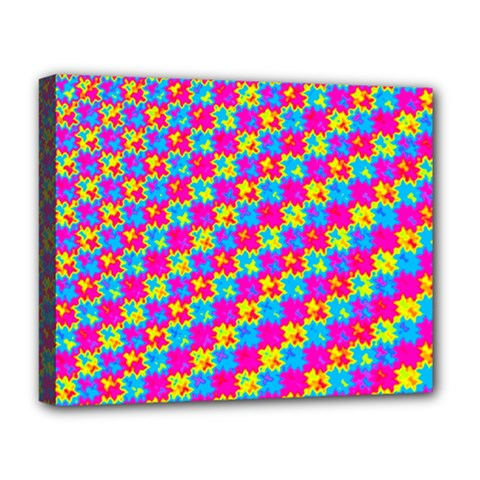 Crazy Yellow And Pink Pattern Deluxe Canvas 20  X 16   by KirstenStar
