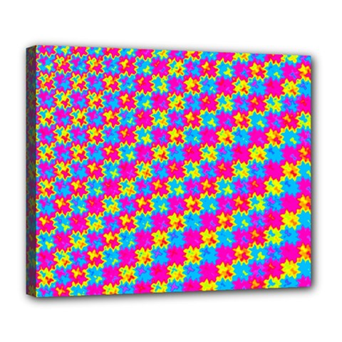 Crazy Yellow And Pink Pattern Deluxe Canvas 24  X 20   by KirstenStar