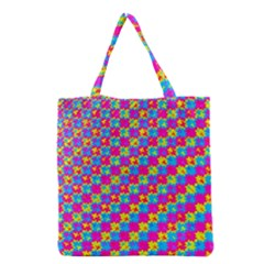 Crazy Yellow And Pink Pattern Grocery Tote Bags by KirstenStar