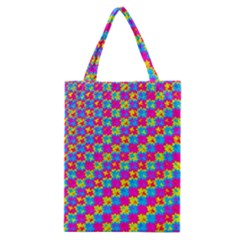 Crazy Yellow And Pink Pattern Classic Tote Bags by KirstenStar