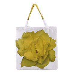 Isolated Yellow Rose Photo Grocery Tote Bags by dflcprints