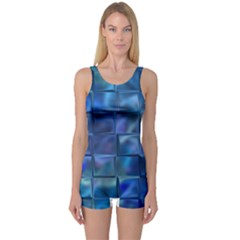 Blue Squares Tiles One Piece Boyleg Swimsuit by KirstenStarFashion