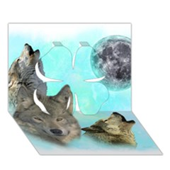 Wolves Shiney Grim Moon 3000 Clover 3d Greeting Card (7x5)