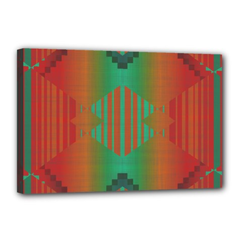 Striped Tribal Pattern Canvas 18  X 12  (stretched) by LalyLauraFLM