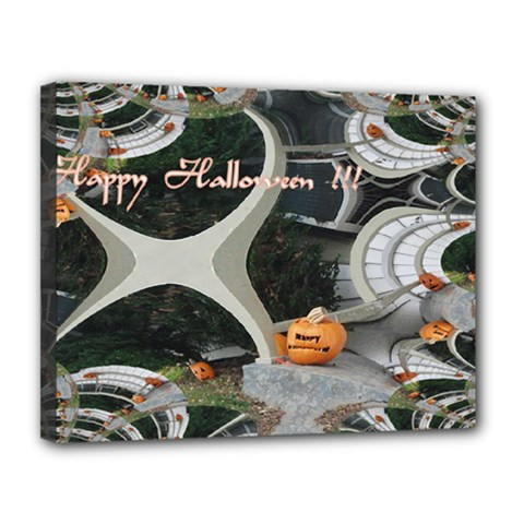 Creepy Pumpkin Fractal Canvas 14  X 11  by gothicandhalloweenstore