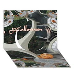 Creepy Pumpkin Fractal Circle 3d Greeting Card (7x5)  by gothicandhalloweenstore