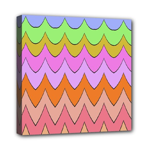 Pastel Waves Pattern Mini Canvas 8  X 8  (stretched) by LalyLauraFLM