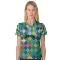 Rhombus Pattern In Retro Colors Women s V Neck Sport Mesh Tee by LalyLauraFLM