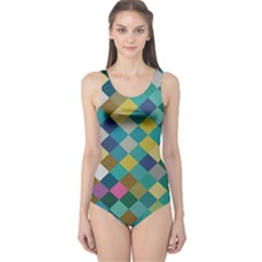 Rhombus Pattern In Retro Colors Women s One Piece Swimsuit by LalyLauraFLM