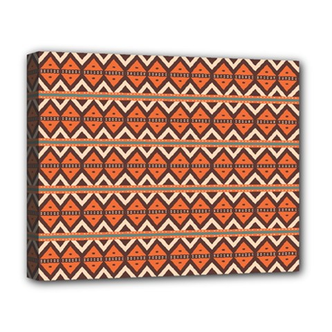 Brown Orange Rhombus Pattern Deluxe Canvas 20  X 16  (stretched) by LalyLauraFLM