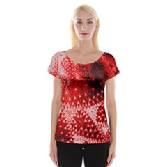 Red Fractal Lace Women s Cap Sleeve Top