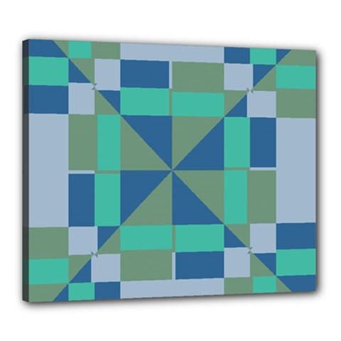 Green Blue Shapes Canvas 24  X 20  (stretched) by LalyLauraFLM