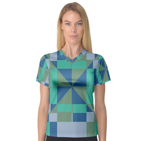 Green Blue Shapes Women s V-neck Sport Mesh Tee by LalyLauraFLM