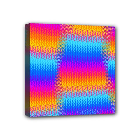 Psychedelic Rainbow Heat Waves Mini Canvas 4  X 4  by KirstenStar