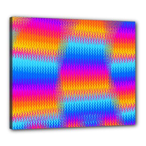 Psychedelic Rainbow Heat Waves Canvas 24  X 20  by KirstenStar