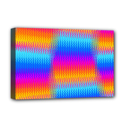 Psychedelic Rainbow Heat Waves Deluxe Canvas 18  X 12   by KirstenStar