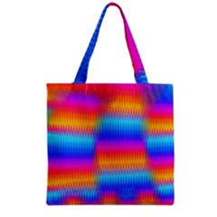 Psychedelic Rainbow Heat Waves Grocery Tote Bags by KirstenStar