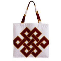 Buddhist Endless Knot Auspicious Symbol Zipper Grocery Tote Bag by CrypticFragmentsColors
